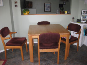 Dining table, chairs and hutch