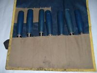 7 stanley chisels 5 firmer & 2 mortice in chisel pouch blue handles
