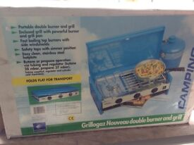 Unused with foldaway table Camping Gaz Grillogaz Nouveau Double Burner and Grill.Still in box.