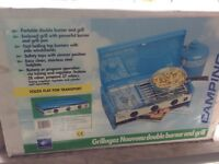 Camping Gaz Grillogaz Nouveau Double Burner and Grill.Unused-with table.Still in box.