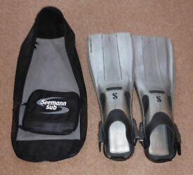 Scuba Pro scuba diving fins size M-L and Seaman Sub fins bag