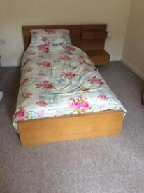 Fantastic Ikea Malm Oak single bed & mattress with attached cabinet