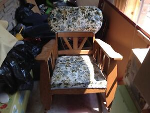 Solid oak upholstered seat rocking chair
