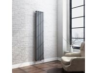 1600 x 300mm anthracite single flat panel vertical radiator towel toilet bathroom