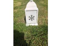 White Lantern with snowflake design
