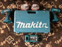 2 MAKITA 18V DRILLS + 2 BATTERIES + CHARGER + CASE