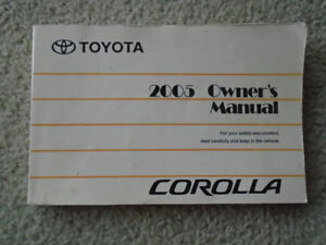 2005 Toyota Corolla owner's manual book...ONLY $ 2 !!!