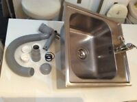 Sink, mixer tap & water trap/strainer