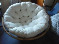 Papasan chair with cream cushion. Excellent condition.