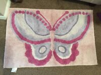 Girls pink butterfly rug