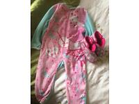 2-3 yrs peppa onesie with size 8 slippers