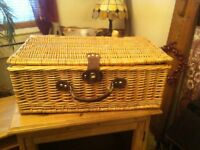 Fab Whicker and leather Picnic Hamper basket kitted out WOW
