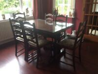 Quality oak Jaycee extending dining table and six chairs
