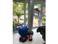 Inflatable boxing punch bag with gloves and fitness ball