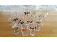 10 pint glasses and 1 half pint glass for sale