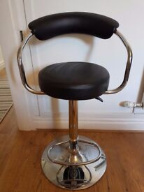 Black Leather Style Height Adjustable Seat great for beauty or breakfast bar