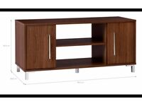 Kaitlin TV unit / stand with 2 storage compartments in walnut effect
