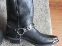 Mens Black Durango Cowboy Boots with Concho Buckle like new