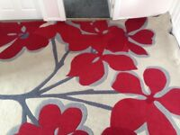 """X large red & grey poppy design rug from Next Home. Size 113"""" x 78"""""""