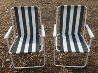 2x green & white striped folding garden chairs