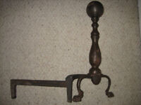 Pair of 19th. Century Heavy Cast Iron Cannon Ball Fireplace Log Irons/Fire Dogs