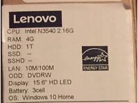 "**SEALED** LENOVO N3540 IDEAPAD 100 15.6"" LAPTOP, PENTIUM QUAD CORE 4GB RAM 1TB DVDRW WINDOWS 10"