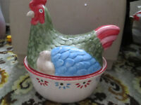 vintage Johnson Bros. Farmhouse Chic 'hen and chick' large egg holder