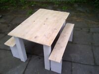 natural top FARMHOUSE TABLE 2 benches rustic reclaimed tops SHABBY CHIC app 4ft x 3ft
