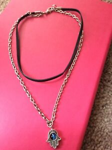 2 layered suede choker and silver chain necklace