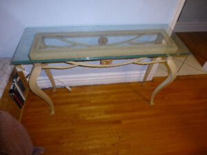Entry Way Stand Solid Metal with Glass Top Excellent Condition