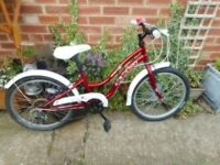 girls 20 inch wheel red and white ivory apollo bike