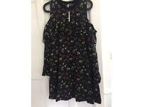 Cold shoulder floral jumper dress (or long top) size 14