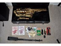 Jupiter Alto Saxophone AS-767, with hard case, stand and extras.
