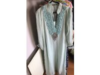 Asian women dress, chiffon lace and embroidery summer mint, size s, 3 piece