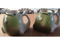 2 CERAMIC FISH SHAPED MUGS