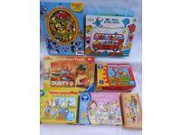 Bundle of 7 Boxed Toys, Mr Men Little Miss Floor puzzle, Disney Stuck On, Disney Car pzl, Farm games