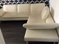 Modern white leather Furniture Village right hand corner sofa. Price reduced.