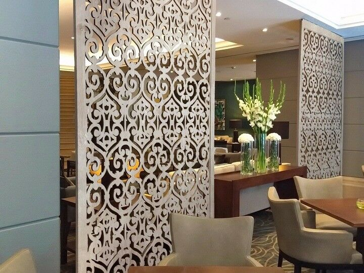 Carved wooden mdf decorative wall panels room divider wall art luxury interior decor in - Luxurious interior design with modern glass and modular metallic theme ...