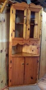 Knotty Pine Corner Cabinet