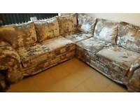 Gold diamonty velvet corner couch