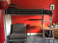 Single bunk bed with desk and a fold away sofa bed chair in excellent condition