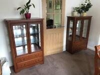 Beautiful 2 Draw Display Cabinets (Pair)