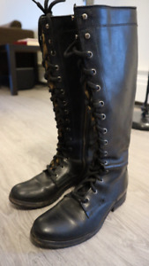 Women's FRYE 77015 Melissa Tall Lace Black Leather Boots - 6.5
