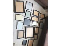 18 photo frames of different sizes