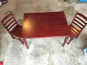 Solid wood kids table with 2 chairs