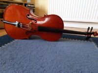 Quarter (1/4) size cello with bow and padded case plus free beginner lesson