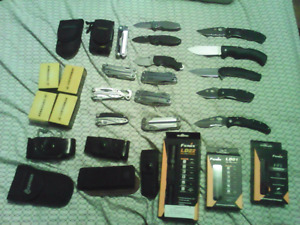 Over 1000$ worth of knives cases flashlights wants gold only