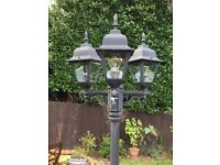 Traditional Black 3 Head Outdoor Garden Lamp Post
