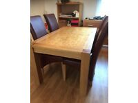 SOLID OAK TABLE WITH FOUR LEATHER CHAIRS - GRAB A BARGAIN! - IDEA FAMILY TABLE