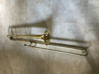 John Packer JP031 Bb tenor trombone with blue and red protective hard case